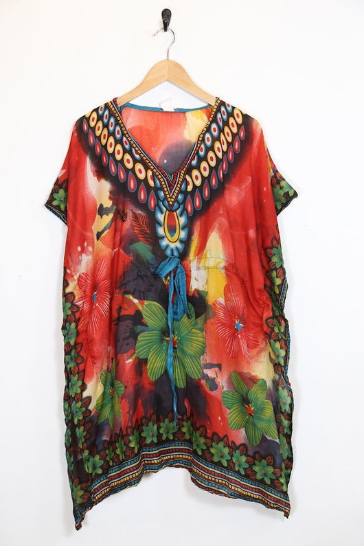Loot Vintage Dress Vintage Tropical Print Kaftan Dress