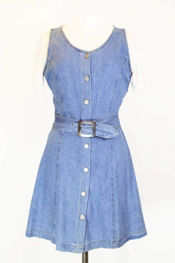 Women's Denim & Floral Pinafore Dress - Blue S