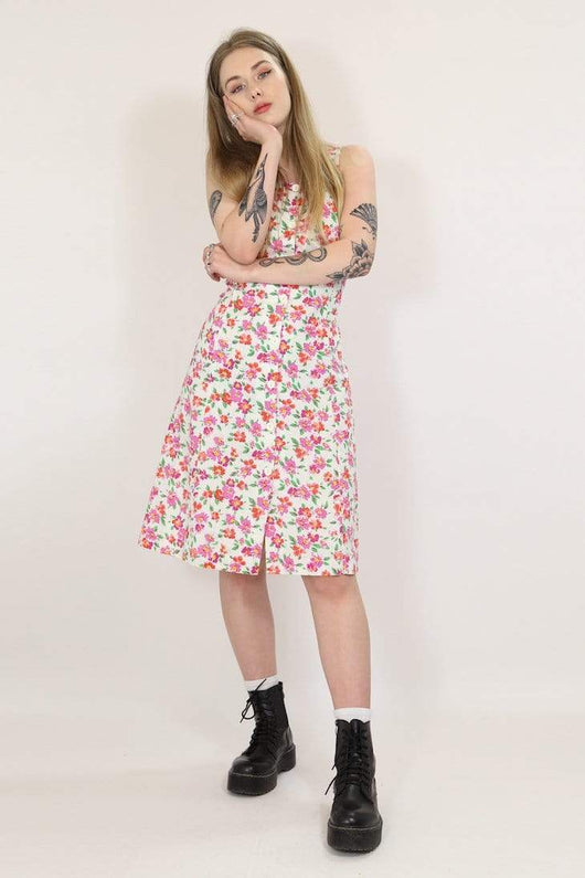 Loot Vintage Dress XS / White / Cotton Womens Vintage Floral Dress - White XS