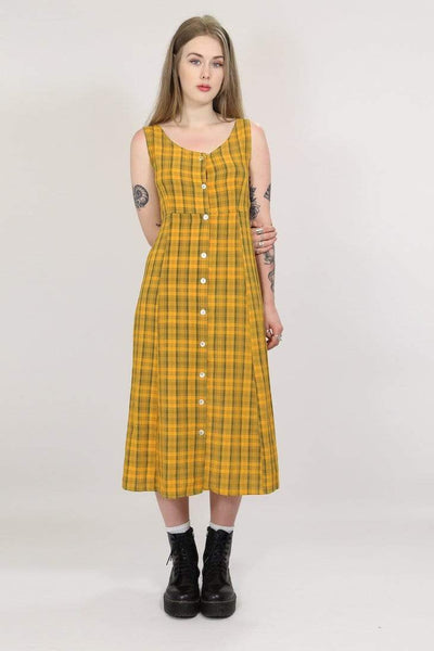 Loot Vintage Dress XS / Yellow / Rayon Women's Checked Dress - Yellow XS