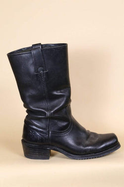 Loot Vintage Footwear Black Leather Biker Boots