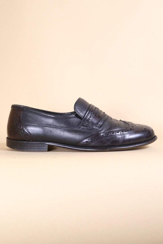 Loot Vintage Footwear Black Leather Loafers
