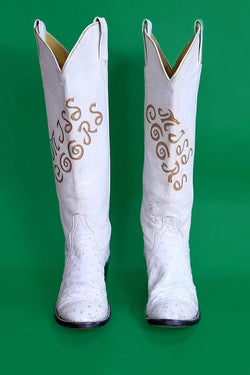 Loot Vintage Footwear White Leather Western Boots