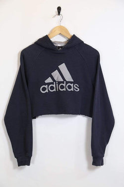 2000s Women's Reworked Adidas Cropped Hoodie - Blue L