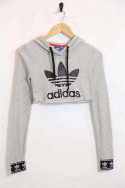 2000s Women's Reworked Adidas Cropped Hoodie - Grey S