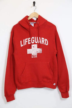 1990s Men's Russell Athletic Lifeguard Hoodie - Red S