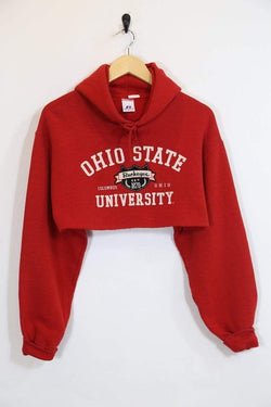 1990s Women's Reworked Sports Cropped Hoodie - Red S