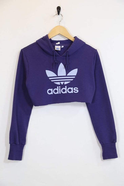 2000s Women's Reworked Adidas Cropped Hoodie - Purple S