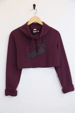 2000s Women's Reworked Puma Cropped Hoodie - Purple M
