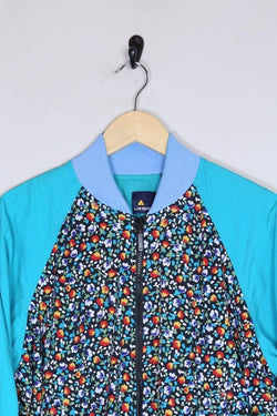 1990s Women's Floral Shell Jacket - Blue M - Loot Vintage