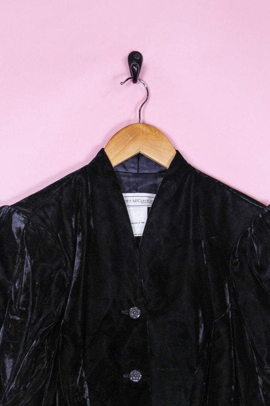 Loot Vintage Jacket 8 / Black Ruched Velvet Jacket