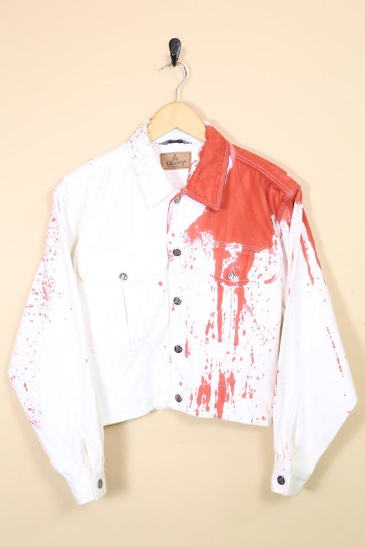 Loot Vintage Jacket 8 / White Vintage White Splash Denim Jacket