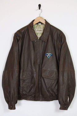 Loot Vintage Jacket Brown Leather Bomber Jacket