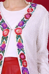 Loot Vintage Jacket Ivory Sequin Jacket