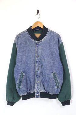 Men's Denim Bomber Jacket - Blue L