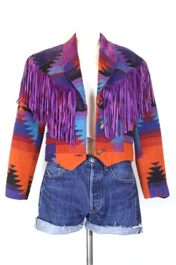 Loot Vintage Jacket M / Multi Women's Tassel Western Jacket - Multi M