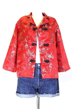 Loot Vintage Jacket M / Red Women's Red Floral Jacket - Red M