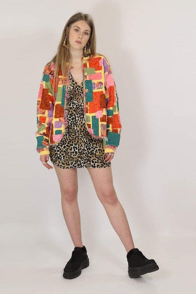 Loot Vintage Jacket M / Yellow / Cotton Women's Patchwork Jacket - Yellow M