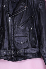 Loot Vintage Jacket Medium / Black T-Birds Leather Biker Jacket