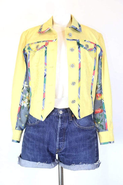 Loot Vintage Jacket S / Yellow Women's Floral Tapestry Jacket - Yellow S