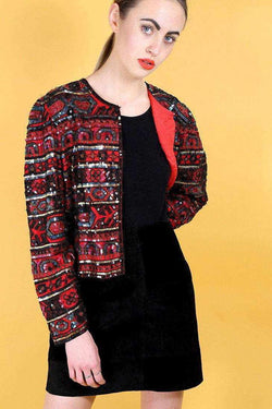 1980s Women's Sequin Jacket - Red L - Loot Vintage