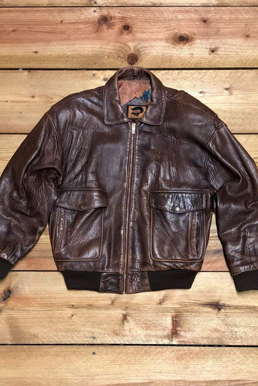 Loot Vintage Jacket Vintage A2 Style Leather Bomber Flight Jacket