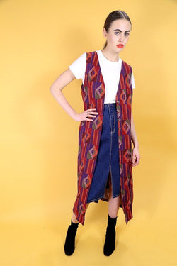 1990s Women's Aztec Sleeveless Jacket - Red ONE SIZE - Loot Vintage