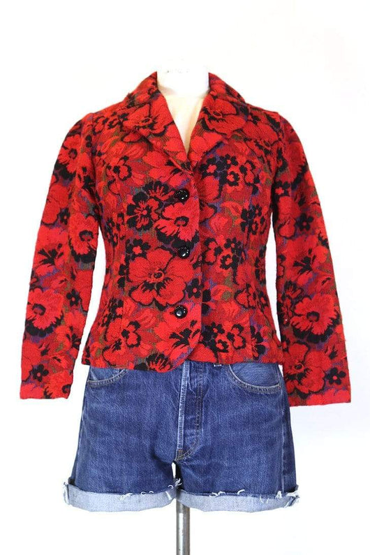 Loot Vintage Jacket XS / Red Women's Floral Tapestry Jacket - Red XS