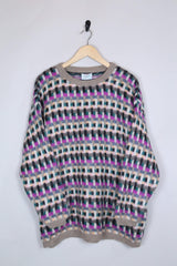 Loot Vintage Jumper 14 / Purple Benetton Candy Knitted Jumper