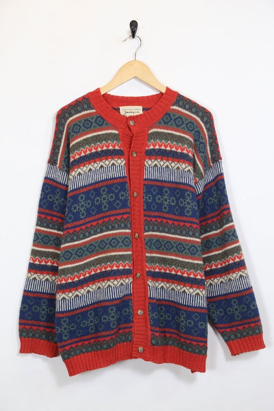 Women's Wool Patterned Cardigan - Red XL