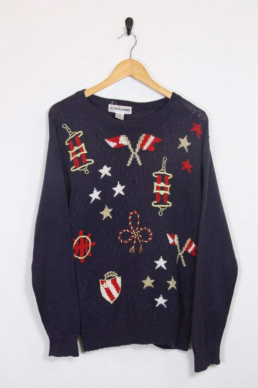 Women's Embroidered Jumper - Blue S