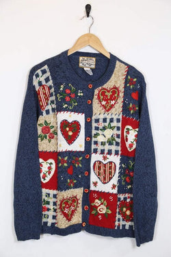 1990s Women's Embroidered Heart Cardigan - Blue M