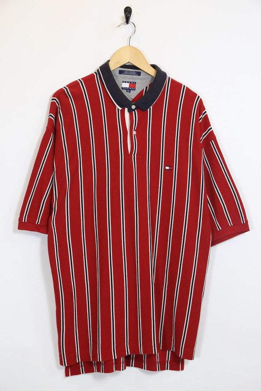 Men's Tommy Hilfiger Striped Polo Shirt - Red XXL