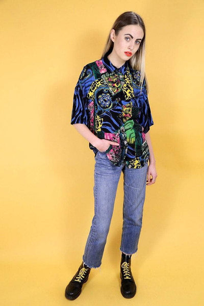 Loot Vintage Shirt 10 / Blue Neon Graphic Printed Shirt