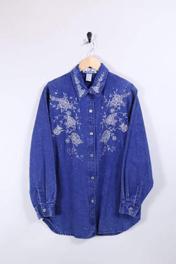 Loot Vintage Shirt 12 / Blue Denim Embroidered Shirt
