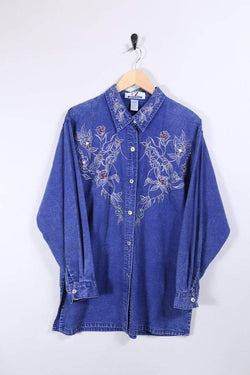 Loot Vintage Shirt 12 / Blue Rose Print Embroidered Shirt