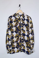 Loot Vintage Shirt 12 / Navy Silk Nautical Print Shirt