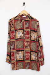 Loot Vintage Shirt 12 / Red Vintage Abstract Patterned Shirt