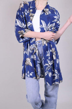 Loot Vintage Shirt 14 / Blue Vintage Leaf Print Hawaiian Shirt