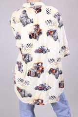 Loot Vintage Shirt 16 / Cream Vintage Car Printed Shirt