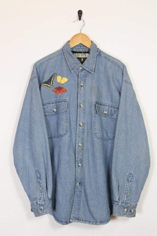 Loot Vintage Shirt Butterfly Fleece Lined Denim Shirt