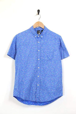 Men's Abstract Patterned Shirt - Blue S