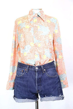 Women's 70s Patterned Shirt - Orange M