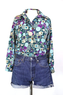 Women's 70s Patterned Shirt - Multi S