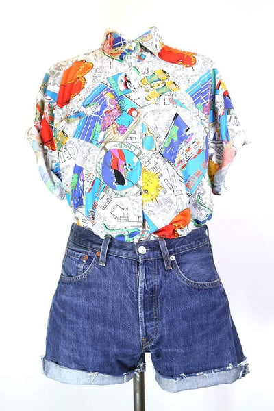 Women's Floral Patterned Shirt - Multi L