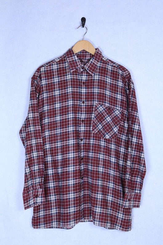 Loot Vintage Shirt Large-Extra large / Red Square Print Flannel Shirt