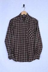 2000s Men's Flannel Shirt - Brown M - Loot Vintage