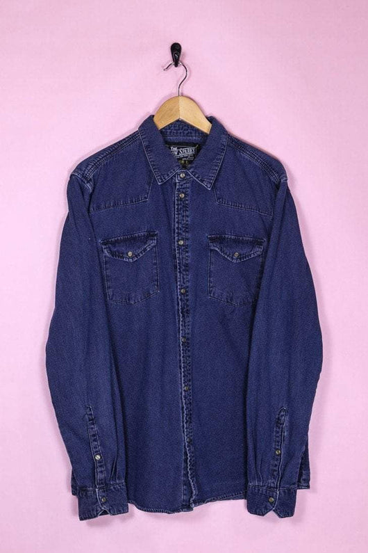 Loot Vintage Shirt Medium / Navy Blue Indigo Denim Shirt