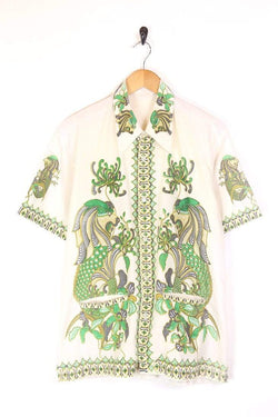 Men's 70s Dragon Print Shirt - White L