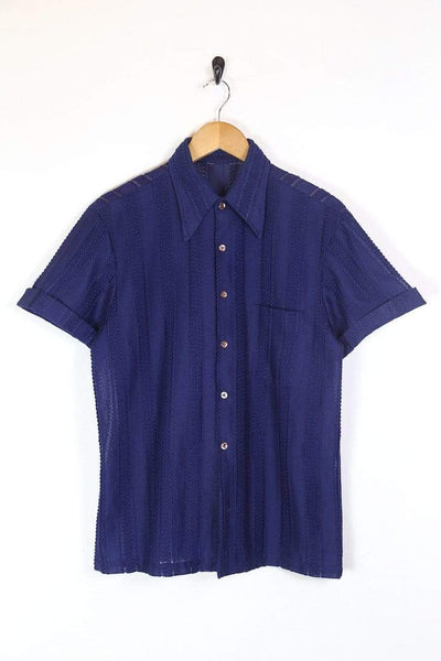 Men's 70s Short Sleeve Shirt - Purple XL